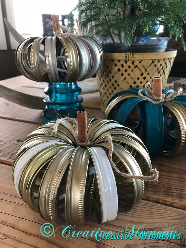 Metallic Modern Pumpkins Made from Canning Rings