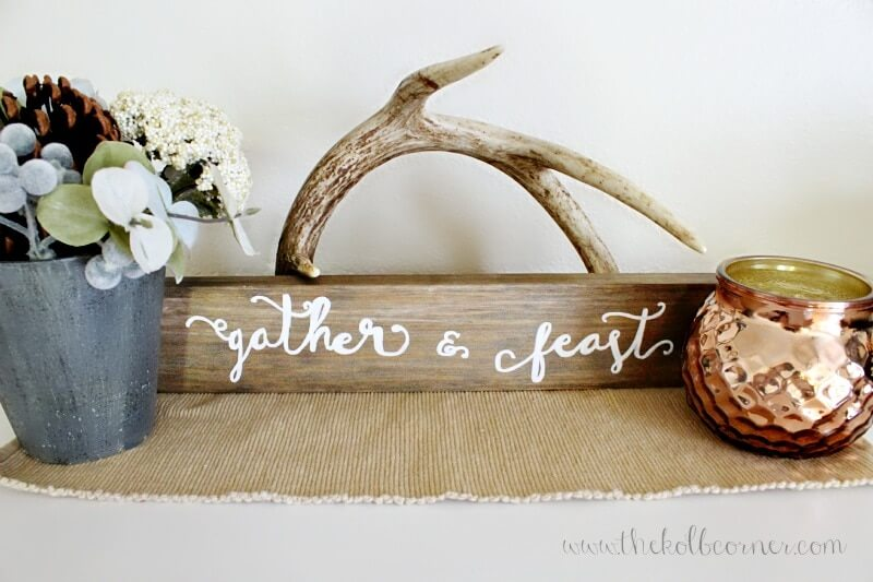 Decorative Wooden Gather and Feast Sign