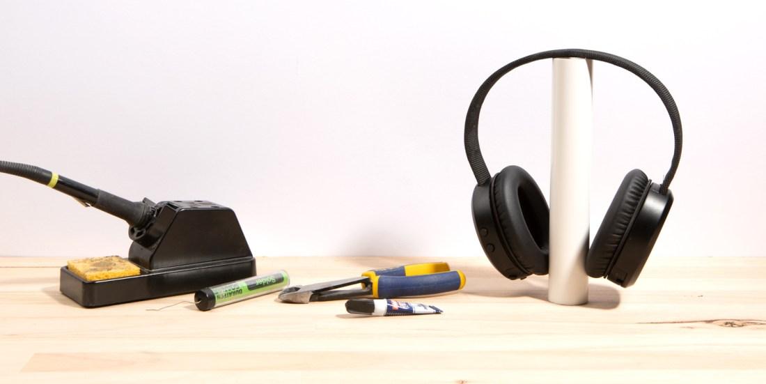 Headphones on bench