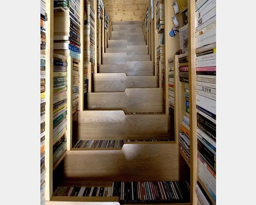stairs with bookshelves
