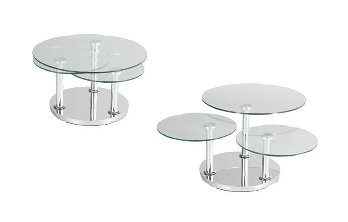 table basse ronde 3 plateaux en verre rose de eda concept