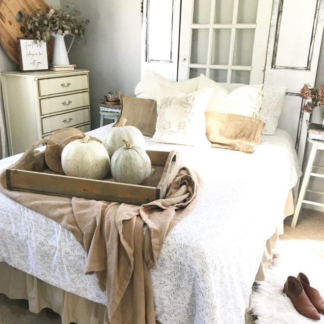 linens and hutch duvet set styled in the master bedroom