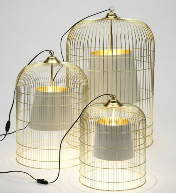 Table lamp from birdcage and lampshades
