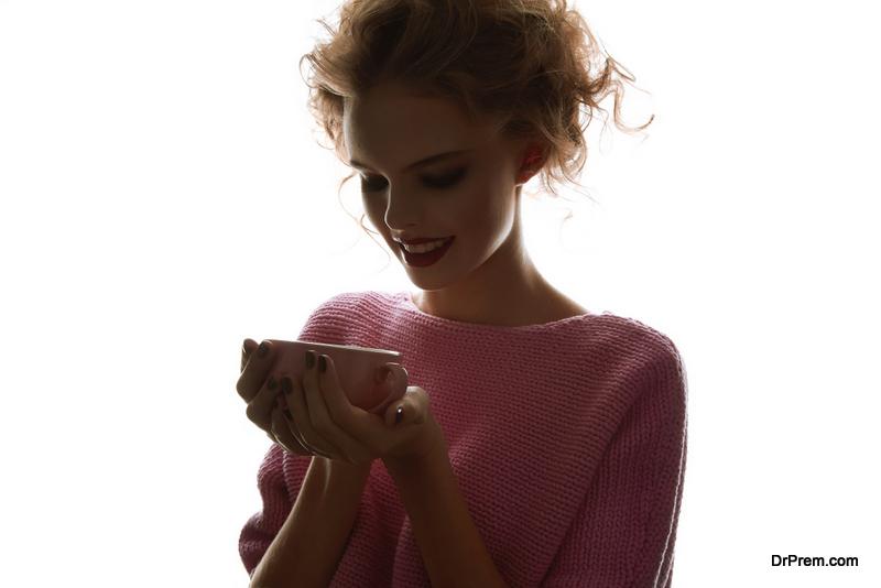 Having a cup of hot tea