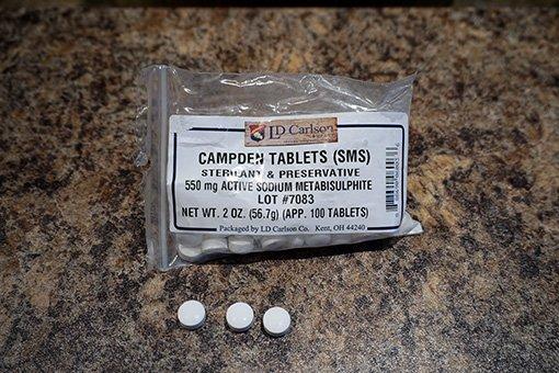 a bag of white campden tablets for cider