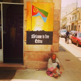 A woman without a home in downtown Asmara, Eritrea. Welcome to Free Eritrea.