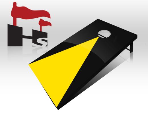 cornhole pyramid black yellow