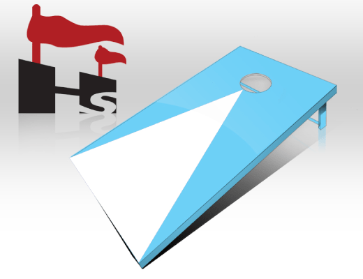 cornhole pyramid blue white