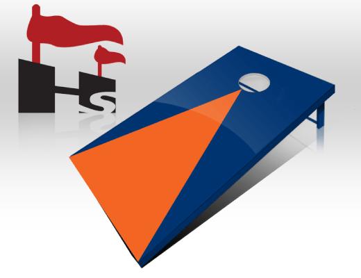 cornhole pyramid navy orange