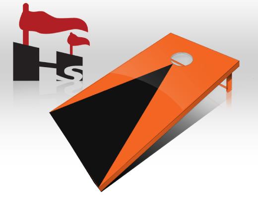 cornhole pyramid orange black