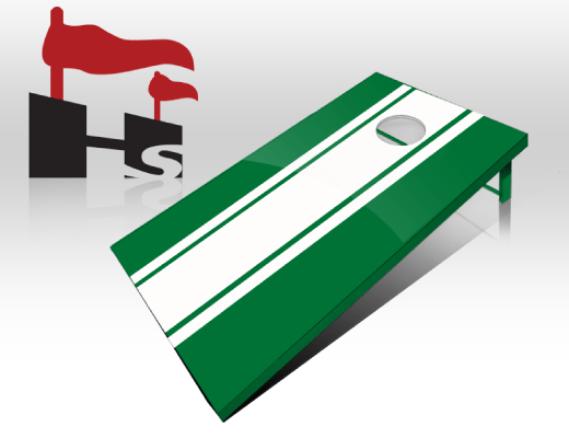 cornhole stripe green white
