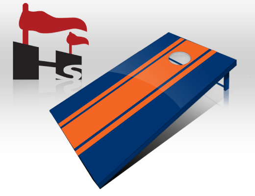 cornhole stripe navy orange