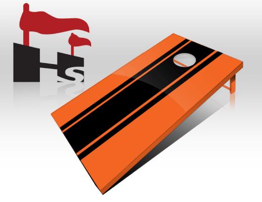cornhole stripe orange black