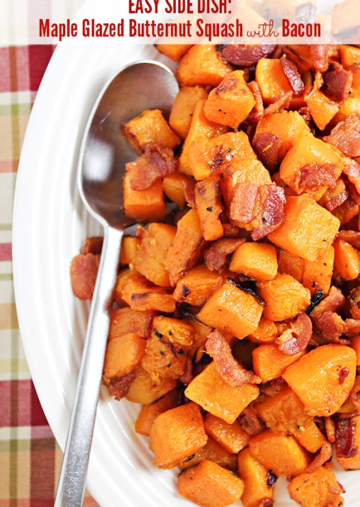 This Maple Glazed Butternut Squash with Bacon recipe makes an easy side dish during the autumn months. It also works great as a delicious breakfast with a fried egg on top.