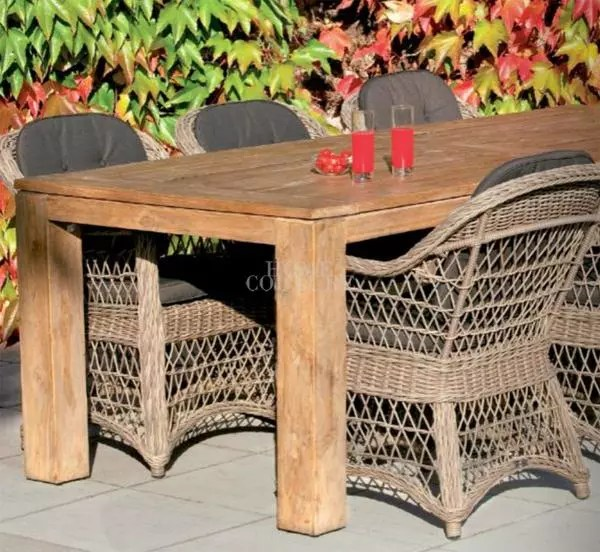 luke teak table and wicker outdoor chairs
