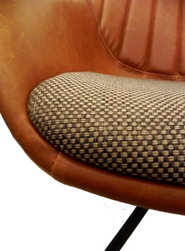 brown damier fabric seat