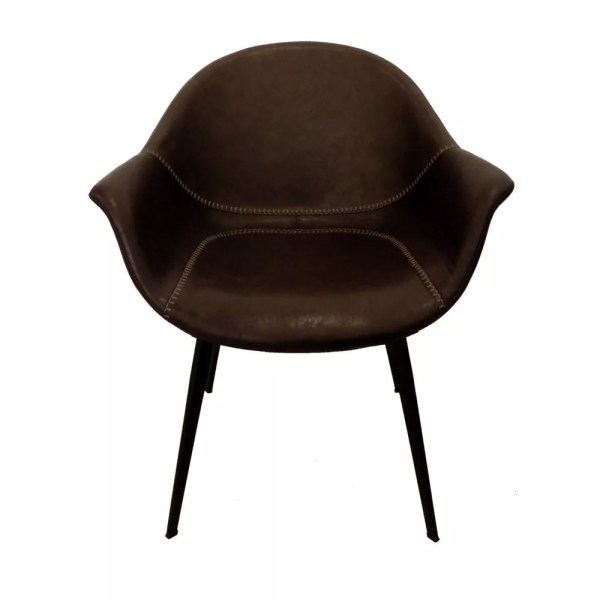 brown faux leather armchair