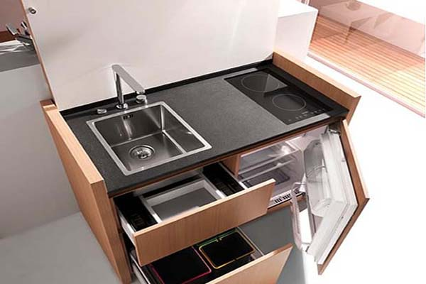 Multi Purpose Function. Small Apartments Compact Kitchen Modern Design