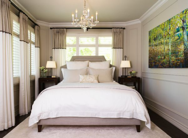 Luxurious-Earthy-Small-Master-Bedroom-Interior-Setting-with-Double-Windows-and-Eye-atching-Green-Painting-as-Focal-Point