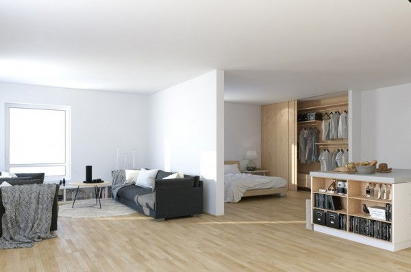Scandinavian-Studio-Apartment-open-plan-partitioned-bedroom-living-with-storage-island-600x398