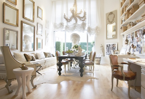 luxury-room-with-white-curtains-statue-decor-classic-black-dining-table-chandeliers-and-books-shelfs-arm-chairs-cushions-also-picture-frames-915x631