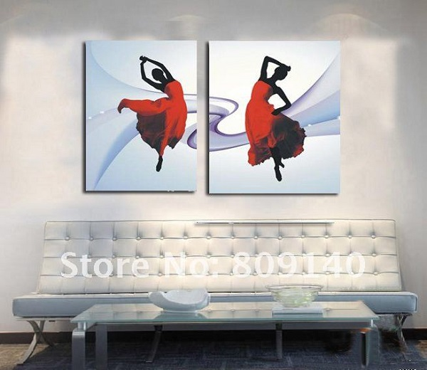 painting-free-shipping-Dancer-Dancing-impression-oil-painting-on-canvas-100-hand-painted-home-decor-wall