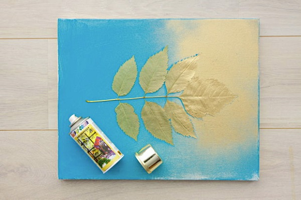diy bedroom leaf paint art