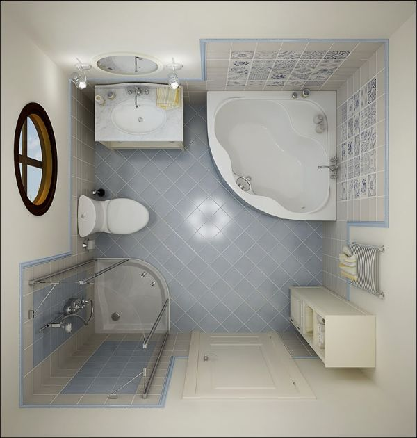top view small bathroom design