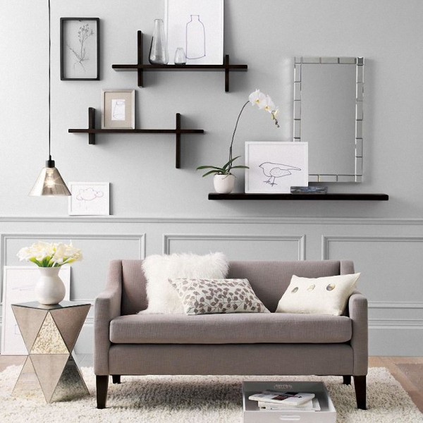 decorative wall shelves in living room