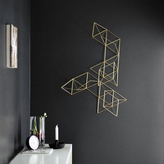 Marvelous ... The Walls Of Your Home Is An Inspired Idea To Spice Things Up On A  Blank Wall. This Stunning Geometric Sculpture Contrasts Nicely With The  Black Walls.