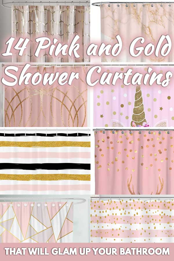 14 pink and gold shower curtains that