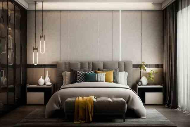 Eşleşen gri yatak başlığına sahip geniş yatak odasının modern iç tasarımı, Başlık Yatağa Uygun mu?