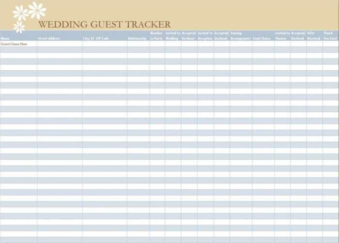 wedding shower guest list template