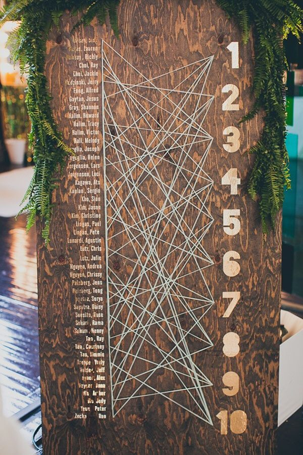 Christmas wedding seating chart ideas