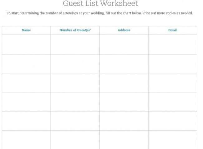 wedding planner guest list template