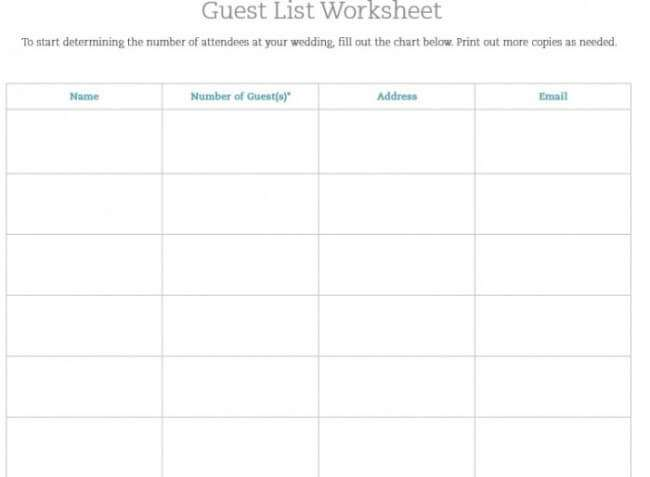 wedding planner guest list template