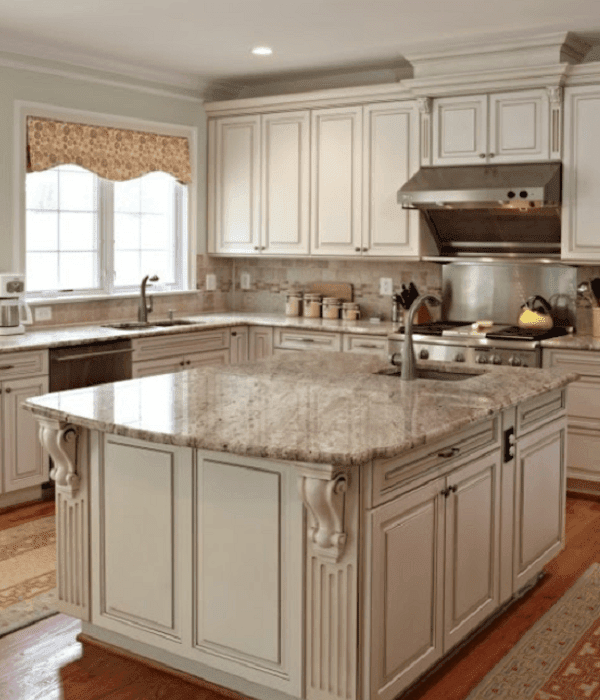 white antique cabinets kitchen
