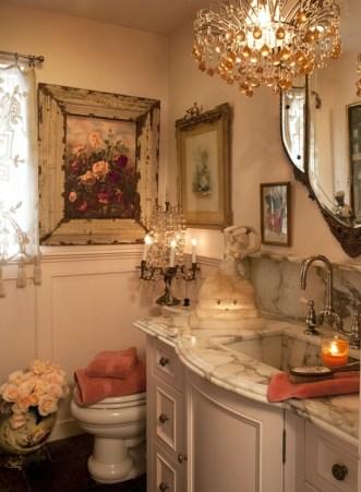 Romantic And Elegant Bathroom Design Ideas With Chandeliers 19