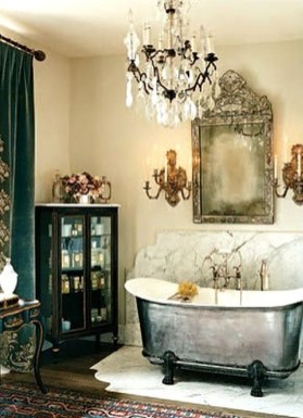 Romantic And Elegant Bathroom Design Ideas With Chandeliers 24