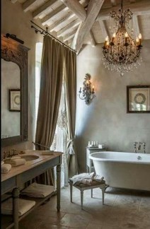 Romantic And Elegant Bathroom Design Ideas With Chandeliers 37