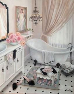 Romantic And Elegant Bathroom Design Ideas With Chandeliers 38