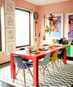 Bright And Colorful Dining Room Design Ideas 21