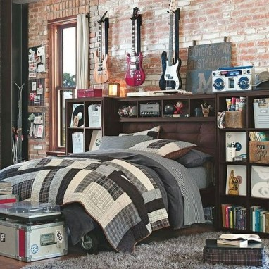 Elegant Rustic Bedroom Brick Wall Decoration Ideas 04