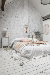 Elegant Rustic Bedroom Brick Wall Decoration Ideas 06
