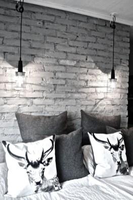 Elegant Rustic Bedroom Brick Wall Decoration Ideas 07