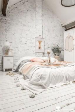 Elegant Rustic Bedroom Brick Wall Decoration Ideas 08