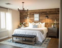 Elegant Rustic Bedroom Brick Wall Decoration Ideas 14