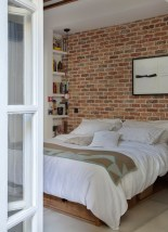 Elegant Rustic Bedroom Brick Wall Decoration Ideas 20