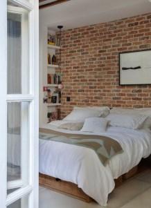Elegant Rustic Bedroom Brick Wall Decoration Ideas 20