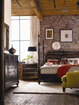 Elegant Rustic Bedroom Brick Wall Decoration Ideas 21